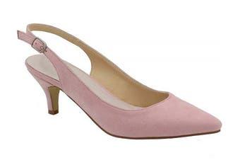 (3 UK, Pink) - Greatonu Womens Pointed Toe Slingback Dress Court Shoes