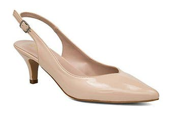 (7 UK, Nude Patent) - Greatonu Womens Pointed Toe Slingback Dress Court Shoes