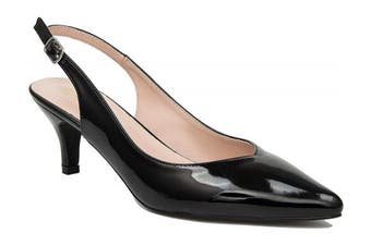 (3 UK, Black Patent) - Greatonu Womens Pointed Toe Slingback Dress Court Shoes