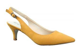 (6 UK, Yellow) - Greatonu Womens Pointed Toe Slingback Dress Court Shoes
