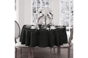 (180cm  round, Black) - Elegance Plaid Contemporary Woven Solid Decorative Tablecloth by Newbridge, Polyester, No Iron, Soil Resistant Holiday Tablecloth, 70 Round, Black