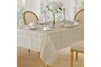 (130cm  x 130cm  Square, Beige) - Elegance Plaid Contemporary Woven Solid Decorative Tablecloth by Newbridge, Polyester, No Iron, Soil Resistant Holiday Tablecloth, 52 X 52 Square, Beige
