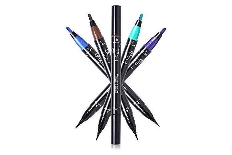(Purple+Black) - Music Flower Waterproof Liquid Eyeliner - Smudge proof, Double Head Makeup Pen– Available in 4 Colours (Purple+Black)
