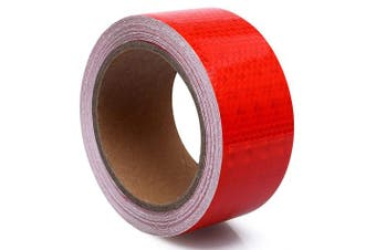 (5.1cm  x 9.1m, Red) - 5.1cm x 9.1m Reflective Safety Tape Red Hazard Caution Adhesive, Reflector Tape Red For Trailers Cars