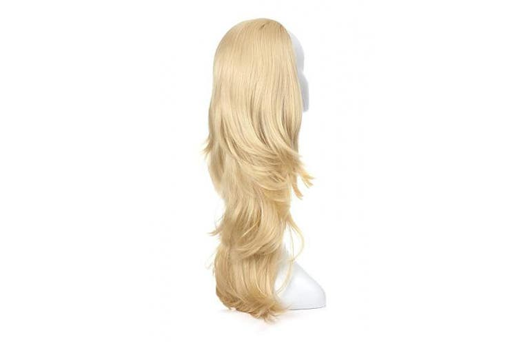 (Slightly Curl, 613) - OneDor 60cm Semi Curly Hair Women Ladies 3/4 Half Wig Premium Japanese Synthetic Kanekalon fibres Wigs with Secured Mesh Head Cap (613)