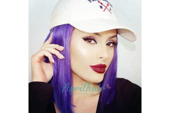 (30cm , Purple Color) - Aprilhair Pre-plucked Bob Lace Front Wigs Glueless 130% Density Short Cut Straight Brazilian Virgin Human Hair With Baby Hair Full And Thick (30cm , Purple Colour)