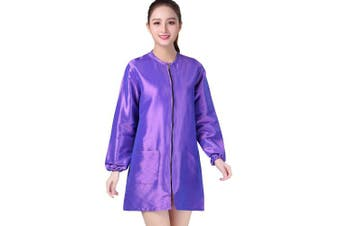 (XL, Violet) - KAHOT Professional Salon Smock Stylist Jacket Cosmetology Uniform Zipper Hairdressing Cape Hairdresser Work Clothes Hair Beauty SPA Guest Client Kimono Gown (XL, Violet)
