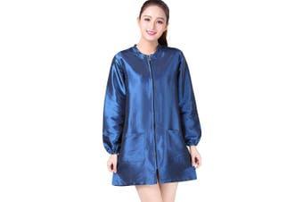 (M, Blue) - KAHOT Professional Salon Smock Stylist Jacket Cosmetology Uniform Zipper Hairdressing Cape Hairdresser Work Clothes Hair Beauty SPA Guest Client Kimono Gown (M, Blue)