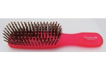 (Raspberry) - Giorgio GION2R Neon 2 Detangling Travel Size Hair Brush - Raspberry