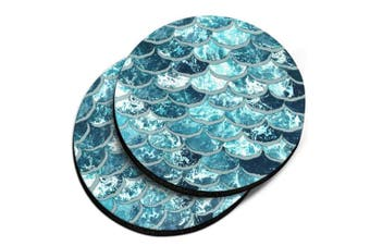 (Mermaid Scales Blue Wave) - CARIBOU Coasters, Mermaid Scales Blue Wave Design Absorbent ROUND Fabric Felt Neoprene Car Coasters for Drinks, 2pcs Set