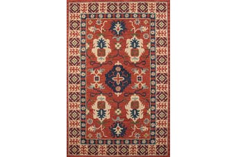 (0.6m x 0.9m, Red) - Momeni Rugs TANGITAN-3RED2030 Tangier Collection, 100% Wool Hand Tufted Tip Sheared Transitional Area Rug, 0.6m x 0.9m, Red