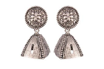 Accessorisingg Traditional Oxidised Silver Plated Jhumka Earrings for Women [TER037]
