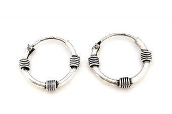 925 Sterling Silver Decorative Bali Balinese Sleeper Hoop Earrings 16mm Diameter