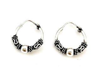 925 Sterling Silver Decorative Bali Balinese Sleeper Hoop Earrings 14 mm Diameter