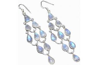 Sterling Silver Rainbow Moonstone 7.6cm Long Drop Chandelier Earrings, Natural Gems 925 Jewellery