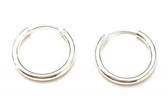 925 Sterling Silver 3 mm Thick Hinged Sleeper HOOP Earrings, 25 mm Diameter