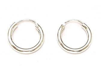 925 Sterling Silver 3 mm Thick Hinged Sleeper HOOP Earrings, 18 mm Diameter