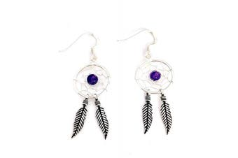 925 Sterling Silver Dream Catcher Amethyst Feather Spider Web Drop Earrings
