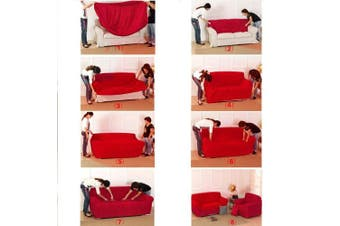Reelva Sofa Cover Slipcover Easy Stretch Fit Elastic Fabric Couch Sofa Protector Slip Cover Washable (2 Seater, Red)