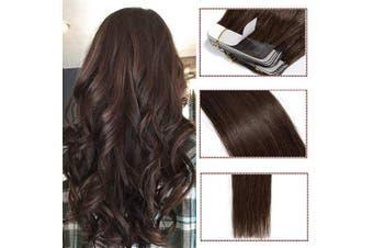 (60cm  100g, 04# Medium Brown) - 30cm - 60cm Hair Extensions Real Human Hair Tape in 40PCS Full Head 100% Remy Hair Pieces Natural Straight (60cm #4 Medium Brown)