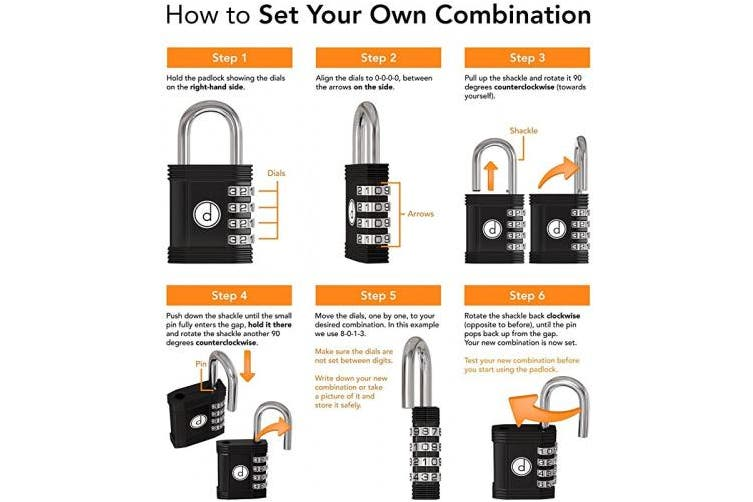 (Black) - Padlock - 4 Digit Combination Lock for Gym, Sports, School & Employee Locker, Outdoor, Fence, Hasp and Storage - All Weather Metal & Steel - Easy to Set Your Own Keyless Resettable Combo - Black