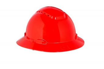(One Size, Red) - 3M Full Brim Hard Hat H-805V, Red 4-Point Ratchet Suspension, Vented