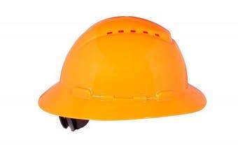 (One Size, Hi-Vis Orange) - 3M Full Brim Hard Hat H-807V, 4-Point Ratchet Suspension, Vented, Hi-Vis Orange