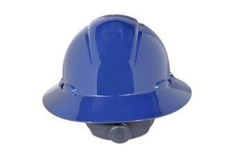 (One Size, Navy Blue) - 3M Full Brim Hard Hat H-810V, 4-Point Ratchet Suspension, Vented, Navy Blue