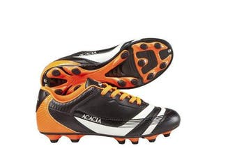 (4Y, Black/Orange) - Acacia Thunder Soccer Shoes