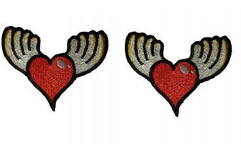 (Small, Multicolored 4) - 2 pcs of Hearts with Wings Patch Iron on Embroidered Appliques for Clothes (Small, Multicoloured 4)