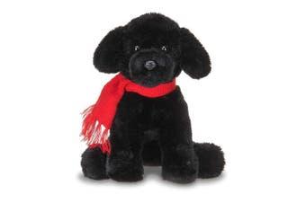 Bearington Cole Plush Stuffed Animal Black Lab Puppy Dog with Scarf, 15cm