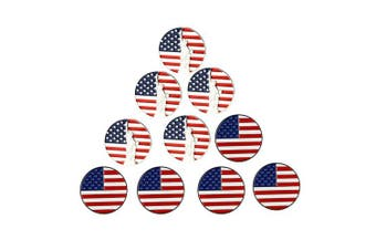 (USA Flag and Statue of Liberty) - PINMEI Lot of 10 Golf Ball Markers Assorted Patterns - Soft Enamel Technique