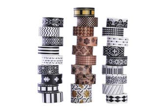 27 Rolls Washi Masking Tape Set, Classic Black and White Decorative Washi Masking Tape,Decorative Special Design Washi Craft Tape for DIY Crafts Book Designs, Great for Festivals and Party