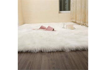 (White, 60 X 90 CM) - HEQUN Faux Fur Rug Soft Fluffy Rug, Shaggy Rugs Faux Sheepskin Rugs Floor Carpet for Bedrooms Living Room Kids Rooms Decor (White, 60×90)