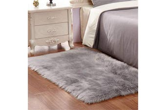 (Grey, 60 X 90 CM) - HEQUN Faux Fur Rug Soft Fluffy Rug, Shaggy Rugs Faux Sheepskin Rugs Floor Carpet for Bedrooms Living Room Kids Rooms Decor (Grey, 60×90)