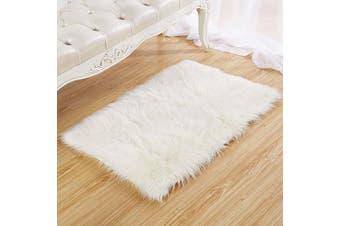 (White, 80 X 180 CM) - HEQUN Faux Fur Rug Soft Fluffy Rug, Shaggy Rugs Faux Sheepskin Rugs Floor Carpet for Bedrooms Living Room Kids Rooms Decor (White, 80 X 180 cm)