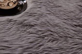 (Grey, 80 X 180 CM) - HEQUN Faux Fur Rug Soft Fluffy Rug, Shaggy Rugs Faux Sheepskin Rugs Floor Carpet for Bedrooms Living Room Kids Rooms Decor (Grey, 80 X 180 cm)