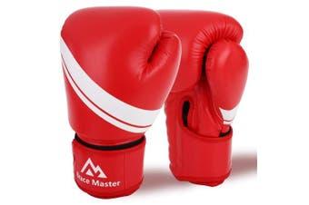(300ml, Red) - Brace Master MMA Gloves UFC Gloves Boxing Gloves for Men Women Leather More Paddding Fingerless Punching Bag Gloves for Kickboxing, Sparring, Muay Thai and Heavy Bag