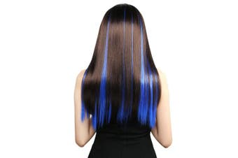 (Blue) - Vlasy 10pcs 50cm Coloured Highlight Synthetic Clip on in Hair Extensions (Blue)