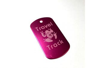 (PINK) - AllCachedUp Trackable Tag for Geocaching - Travel Track Tag - trackable like a Travel Bug