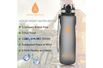 (New Version Black 1L) - Acelec Water Bottle Sport Water Bottle (1L1060ml) Leak Proof BPA Free Reusable Eco-Friendly Easy Carrying Sports Drink Bottle For Camping, Hiking, Biking, Travelling Large Running Water Bottle