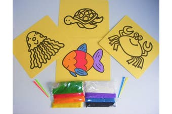 4 Peel Off Sticky 20cm x 17cm SEALIFE Sand Art Pictures with SAND in 8 Colours ~ Crab Turtle Jellyfish & Fish Designs