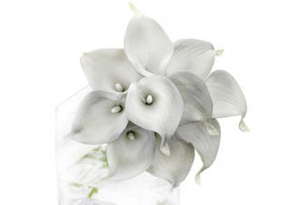 (White & Grey) - FiveSeasonStuff 10 Stems of Real Touch Calla Lilies Artificial Flower Bouquet, Perfect for Wedding, Bridal, Party, Home Office Décor DIY (White & Grey)