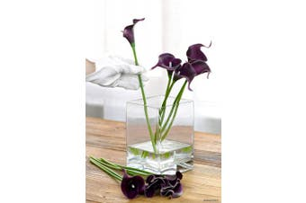 (Totally Dark Magenta) - FiveSeasonStuff 10 Stems of Real Touch Calla Lilies Artificial Flower Bouquet, Perfect for Wedding, Bridal, Party, Home Office Décor DIY (Totally Dark Magenta)