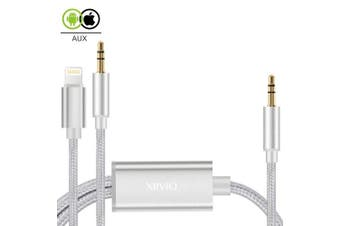 2 in 1 Aux Cord Compatible with iPhone X, XIIVIO 3.5mm Aux Stereo Audio Jack Adapter with Extension Headphone Auxiliary Splitter Cable for iPhone X/Xs / Max / 8/8 Plus / 7/7 Plus, Android Smartp