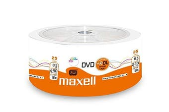 Maxell 276078 Shrink of 25 DVD + R 8.5GB DL 8,5GB 8x Speed, Double Layer BLU RAY Inkjet Printable