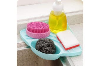 SwirlColor Kitchen Sink Caddy Sponge Holder Cleaning Brush Holder Sink Organiser - Green