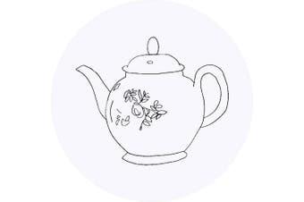 Azeeda 24 x 40mm Round 'Floral Teapot' Stickers (SK00016643)