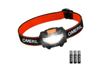 LED Head Torch, OMERIL Lightweight COB Headlamp with 3 Modes, IPX4 Waterproof, Super Bright 150 Lumens LED Headlight for Kids & Adults, Running, Fishing, Camping, Hiking, DIY[3*AAA Batteries Included]