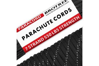 (Reflective Black, 50 Metre) - Brotree 550 Paracord 7 Strand Nylon Parachute Cord Outdoor Survival Rope - 250kg Breaking Strength (Standard, Reflective)
